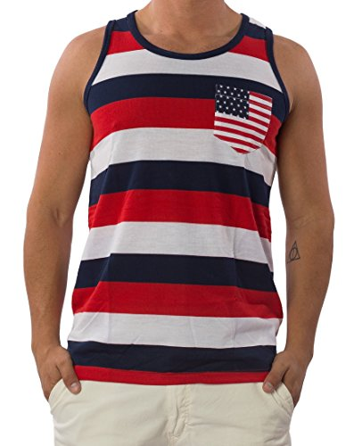 Exist-Mens-Patriotic-USA-American-Flag-Stripes-And-Stars-Pocket-Tank-Top-T-Shirt