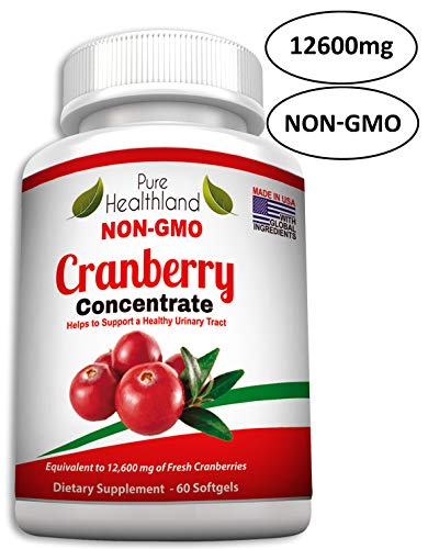 - NON GMO Cranberry Concentrate Supplement Pills For Urinary Tract Infection UTI. Equals 12600mg Cranberries. TRIPLE STRENGTH Promote Kidney Bladder Health For Men And Women, Easy To Swallow Softgels