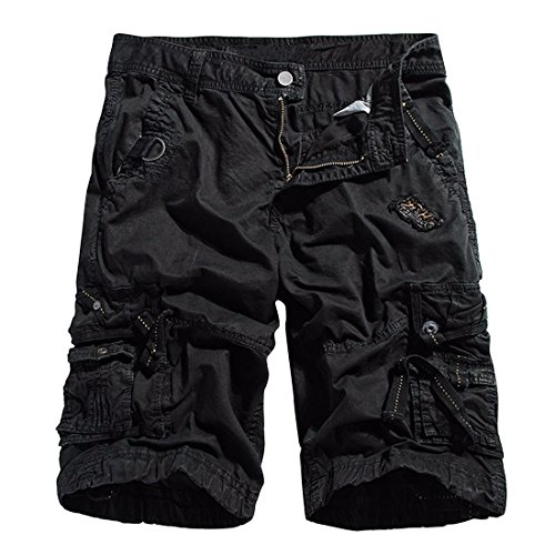 DATONG Tongda Mens Twill Cargo Shorts Casual Cotton Pants Outdoor Wear with Multi Pockets Black Size (Cotton Twill Sport Short)