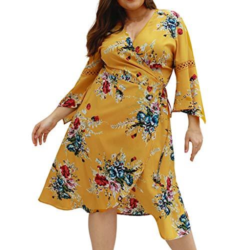 Women Plus Size Flirty Flounce Wrap Dress Boho Flare Sleeve Floral Fork Dress Casual Work Party Tea Swing Dress Yellow