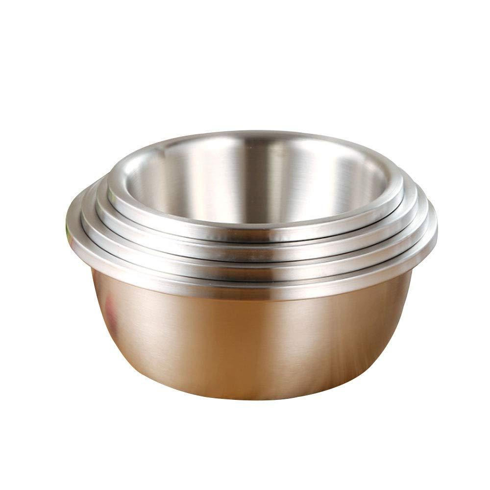 Aolvo 4PCS Stainless Steel Mixing Bowl Set Thickened Premium Large Nesting Bowls - Big Salad Mixing Bowl 4qt/5.4qt/7qt/9pt, Easy Grip Edges & Anti-Slip Base, Matting Finish for Meal Prep, Baking