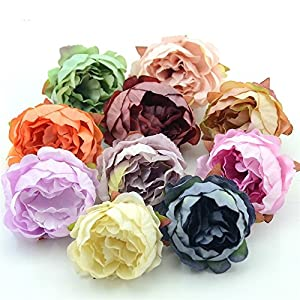 FLOWER Artificial Peony Head for Wedding Decoration DIY Decorative Wreath Fake European Fall Vivid Silk 15 Pieces 5cm 56