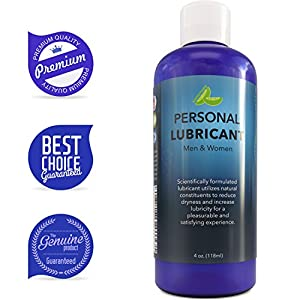 Best Water Based Lubricant for Sex for Women and Men - Natural Hypoallergenic Lube for Sex - Carrageenan Personal Lubricant for Couples - Enriched with Aloe Vera Juice for Sensual Sex - Paraben Free