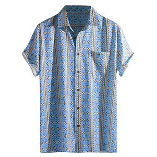 Colorful Striped Henley Shirt for Men, Huazi2 Summer Short Sleeve Loose Tops Blue ()