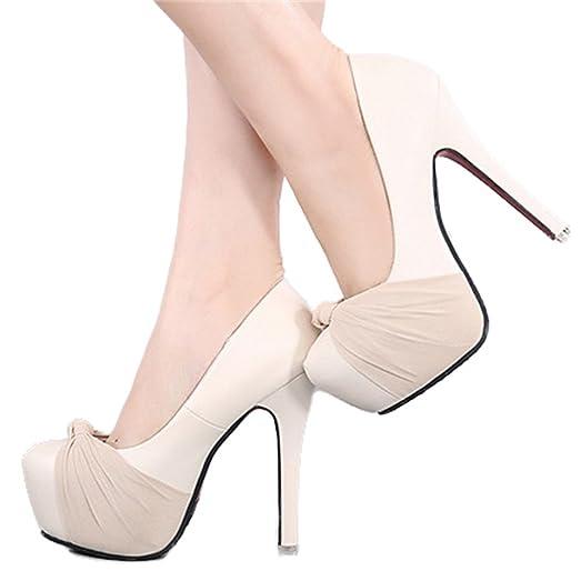 Xianshu Women Point Toe Shallow Mouth Shoes Wedge Heel Single Shoes Solid Color Pumps(Apticot-40 EU) 7EiYj4ec0