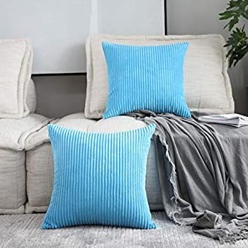 Home Brilliant 2 Pack Super Soft Large Euro Sham Throw Pillows Cushion Cover Velvet for Bench, 26 x 26 inch (66cm), Turquoise