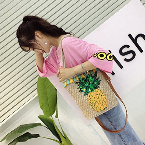 Crossbody for Beach Glitter Pineapple Basket Decals Party Luau Shoulder Handbag Suppliers Bag Summer Woven BESTOYARD Bag Tote Straw qzCw6t7