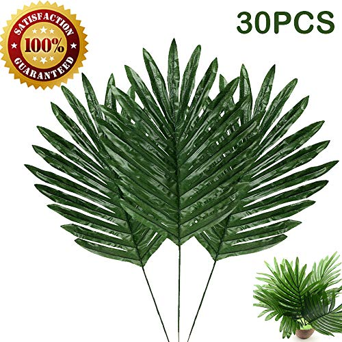 30 Pcs Artificial Palm Leaves with Stems Tropical Plant Faux Leaves Safari Leaves Hawaiian Luau Party Suppliers Decorations,Tiki,Aloha Jungle Beach Birthday Leave Table Decorations -