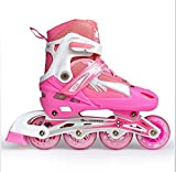 Skates Kids Adjustable Illuminating Inline With Full Light Up LED Wheels, Fun Flashing Rollerblades For Boys And Girls,Pink,S