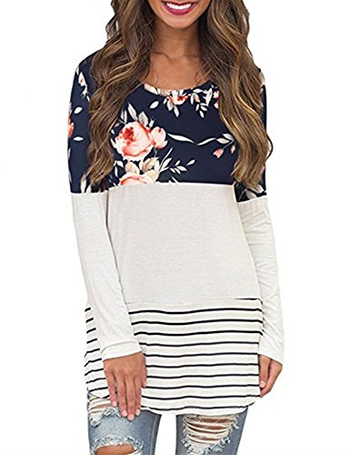 Blue Stripe T-shirt (LSAME Women's Casual Floral Print Stripes Lace Inset Long Sleeve T Shirt Knits Tunics (Navy Blue, Medium))