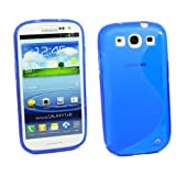 Kit Me Out CAN TPU Gel Case for Samsung Galaxy S3 III i9300 - Blue S Wave Pattern
