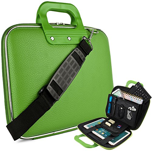 (Vegan Leather Melvin Cube Carrying Green [Medium] Shoulder Bag w/Handles For University Collage High School, Elementary, Middle School)