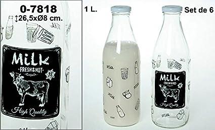 DonRegaloWeb - Set de 6 botellas de cristal y 1 l de capacidad decoradas con vaca