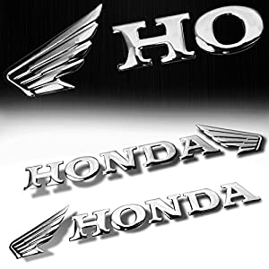 "(Pack of 2) 7"" x 1.5"" 3D ABS Emblem Decal Wing Logo + Letter Glossy Sticker Honda Chrome"