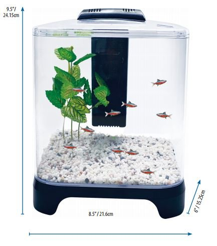 1.5 Gal Aquarium Fish Tank w/ Low Voltage LED Light and Internal Filter by American Paws Pet Products
