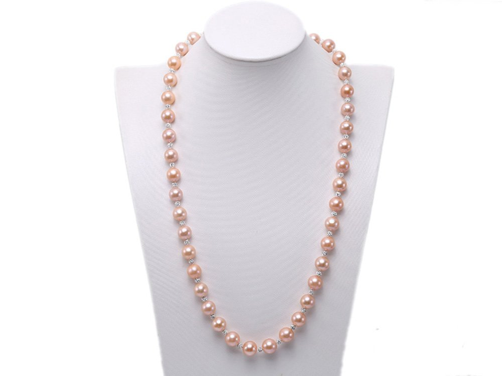 JYX 11-12mm Top Quality Edison Pearl Necklace with Shiny CZech Rhinestones