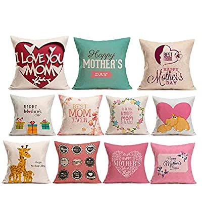 Throw Pillow Cover, DaySeventh I Love Mom Sofa Bed Home Decoration Festival Pillow Case Cushion Cover 18x18 Inch 45x45 cm