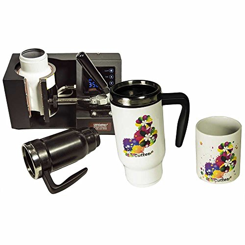 USCutter Mug Cup Heat Press Transfer Sublimation Machine, Automatic Digital Timer, Black