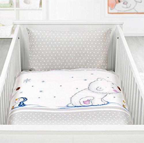 Kinderbettwäsche Baby Bettwäsche Renforce 100% Baumwolle 100x135 - 311661 (Eisbär)