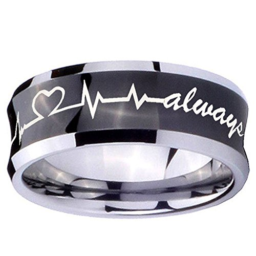 Concave Tungsten Carbide Band Ring - anntungsten Tungsten Carbide Black IP Shiny Concave Heart Beat Forever & Always Ring 5mm Size 8