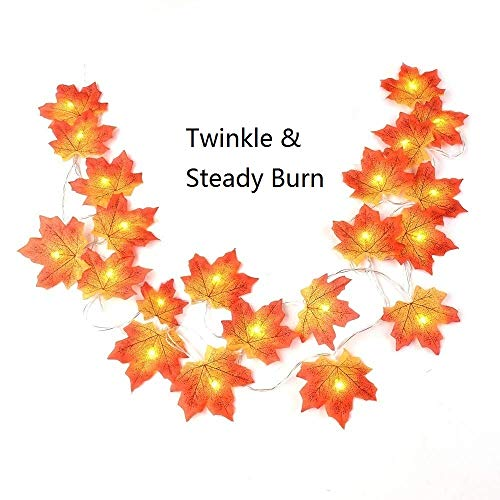 Thanksgiving Decorations Lighted Autumn Fall Garland Decor Wreath 9.8 Feet 20 LED Battery Powered Maple Leaves Holiday Halloween Christmas Fairy String Lights Gift Centerpieces for Party Home Garden from Easest