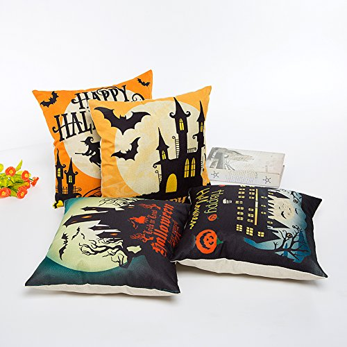 HOSL PW01 4-Pack Happy Halloween Square Decorative Throw - Import It All