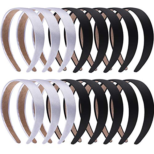 SIQUK 16 Pieces Satin Headbands 1 Inch Black and Silver Hairbands Ribbon Headband DIY Hair Accessories for for Women and - Headband Satin White