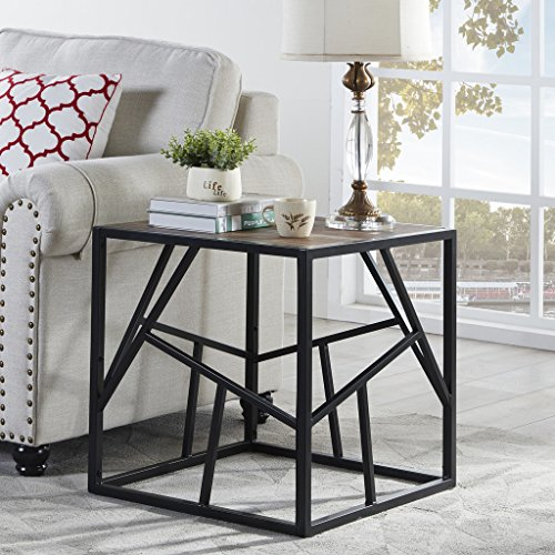 "Homissue 21.7""Height Vintage Industrial End Table with Criss-Cross Design, Square Accent Table/Night Stand, Decorative for Bedroom and Living Room, Retro Brown Finish Review"