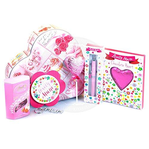 Moreton Gifts Lovely Mum Heart Treat Tin - Lindt Truffles, Mum Keyring, Chcocolate Heart, Pen, Lollypop & Badge