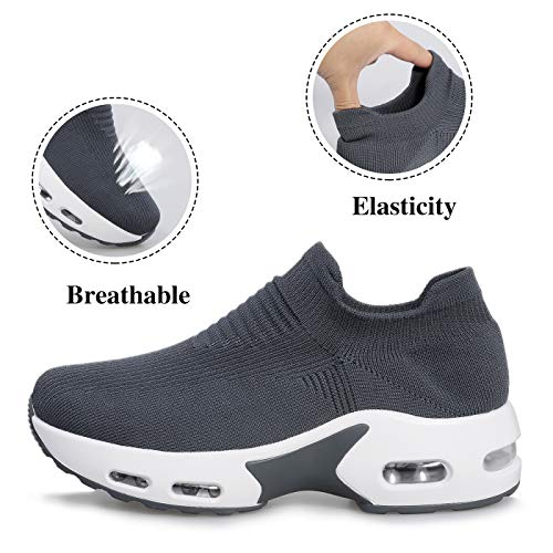 Shoeslocker Womens Walking Shoes Sock Sneakers Mesh Slip On Air Cushion Lady Girls Platform Loafers
