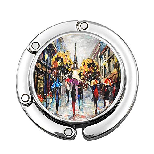 Jackie Prout ss European City Landscape Street View of Paris and Eiffel Tower Custom Foldable Handbag Bag Purse Hanger Hook Holder (Best Restaurants In Paris With A View)