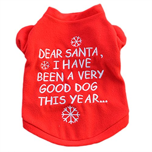 Funny Christmas Puppy - ALoveSoul Dog Christmas Clothes Pet Winter Clothing for Dogs Puppy Funny Embroidery Warm Red T-shirt, L