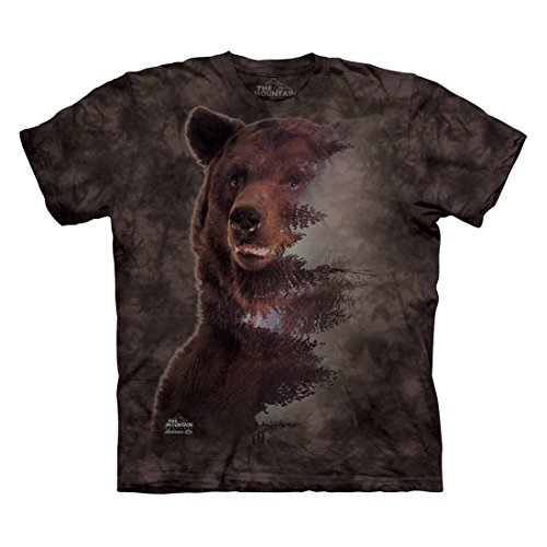 The Mountain Men's Brown Bear Forest T-Shirt, Black, S Black Bear Print T-shirt