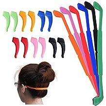 6 Pack Anti-Slip Silicone Glasses Straps with 6 Pairs Ear Grip Hooks, SENHAI Soft Eyewear Retainer Eyeglasses Holder for Kids Adult Sports - Black, Red, Orange, Pink, Blue, Green