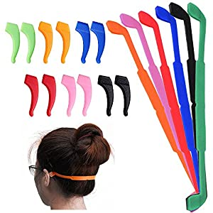 SENHAI 6 Pack Anti-slip Silicone Glasses Straps with 6 Pairs Ear Grip Hooks, Soft Eyewear Retainer Eyeglasses Holder for Kids Adult Sports - Black, Red, Orange, Pink, Blue, Green