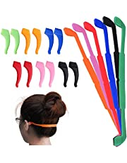 6 Pack Anti-Slip Silicone Glasses Straps with 6 Pairs Ear Grip Hooks, SENHA Soft Eyewear Retainer Eyeglasses Holder for Kids Adult Sports - Black, Red, Orange, Pink, Blue, Green