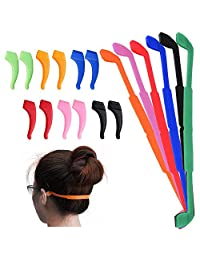 6 Pack Anti-Slip Silicone Glasses Straps with 6 Pairs Ear Grip Hooks, SENHAI Soft Eyewear Retainer Eyeglasses Holder for Kids Adult Sports - Black, Red, Orange, Pink, Blue, Green