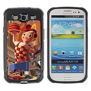 Hybrid Anti-Shock Defend Case for Samsung Galaxy S3 / Big Boy Retro Painting