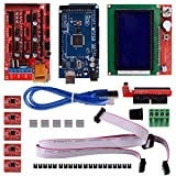 Aokin 3D Printer Controller Kit for Arduino RepRap, RAMPS 1.4 + Mega 2560 Board + 5pcs A4988 Stepper Motor Driver with Heatsink + LCD 12864 Graphic Smart Display with Adapter (Color: 3D Printer Controller Kit)