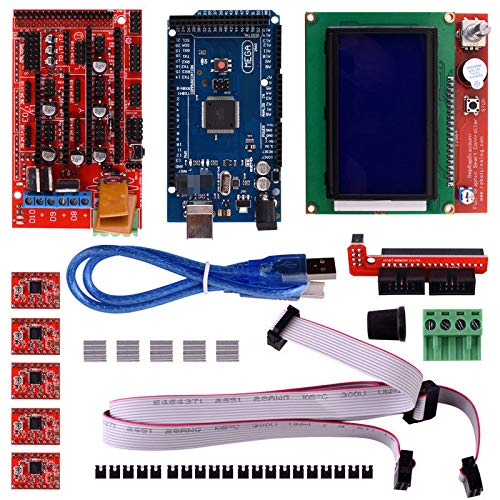 Aokin 3D Printer Controller Kit for Arduino RepRap, RAMPS 1.4 + Mega 2560 Board + 5pcs A4988 Stepper Motor Driver with Heatsink + LCD 12864 Graphic Smart Display with Adapter (Ramps Matrix)