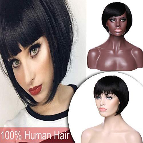 - Short Bob Human Hair Wigs with Bangs Machine Made Straight Brazilian Virgin Hair Shoulder Length Full Wig for Women Glueless Free Part #1B Natural Black