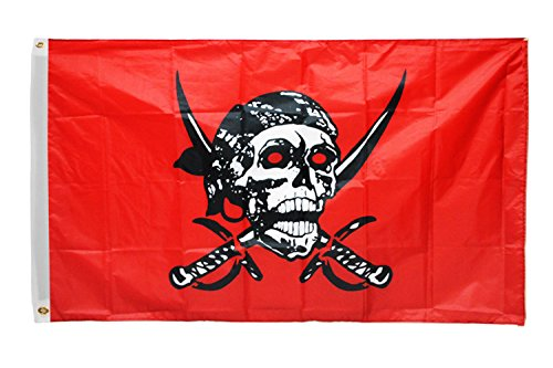 Time Roaming 3x5 Ft Red Caribbean Pirate Jolly Roger Pirate