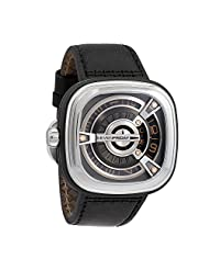 Seven Friday Men's M-Series 47mm Black Leather Band Steel Case Automatic Multicolor Dial Watch M1/03 by SEVENFRIDAY
