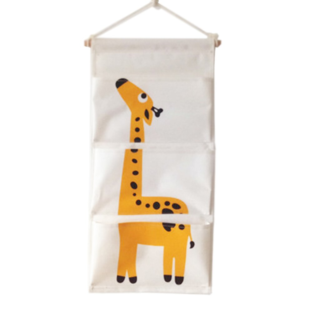 Over The Door Closet Organizer, Wall Hanging Storage Bags Nursery Hanging Organizers with 3 Pockets for Bedroom & Bathroom, Kids Love IT! (Giraffe)