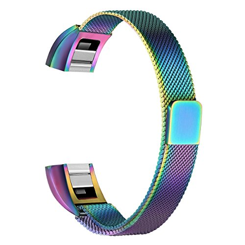 bayite for Fitbit Alta HR and Alta Bands, Replacement Milanese Loop Stainless Steel Metal Bands Small Pearlescent