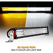 "Curved LED Light Bar, Rigidhorse 22"" 285W Quad Row Multi-Color Light Bar Flood Spot Combo Beam Off Road Light Driving Light with Wiring Harness Kit and Mounting Brackets Set for Jeep, ATV, SUV, UTV"