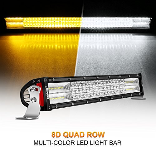 (Curved LED Light Bar, Rigidhorse 4 Row 22inch 285w Multi-Color Amber/White Light Bar Spot light & Flood light Combo Off Road Light with Mounting Brackets Set, For Jeep/ATV/SUV/UTV)