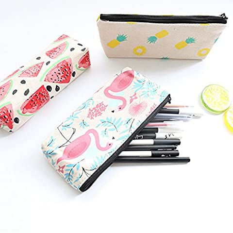 Cute Fruit and Flamingo Canvas Pencil Bag Holder Pen Case Stationery Makeup Cosmetic Pouch Bag with Zipper, Set of - Pouch Gift Set