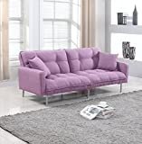 Divano Roma Modern Tufted Linen Sleeper Futon Sofa, Light Purple Deal (Small Image)