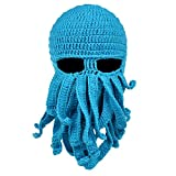 Vbiger Beard Hat Beanie Hat Knit Hat Winter Warm Octopus Hat Windproof Funny for Men & Women, Light Blue, One Size